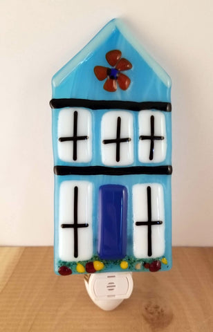 Blue Holland House Fused Glass LED Night Light