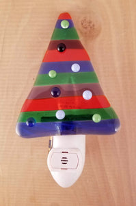 Red and Green Holiday Tree with White, Green, and Blue Ornaments Fused Glass LED Night Light