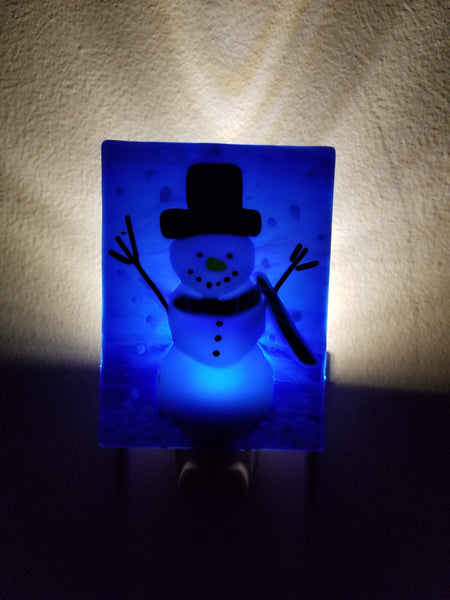 Snowman with Red and Green Scarf Fused Glass LED Night Light