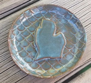Mermaid Scale Michigan Stoneware Soap Dish, Spoon Rest, Tea Bag or Ring Holder