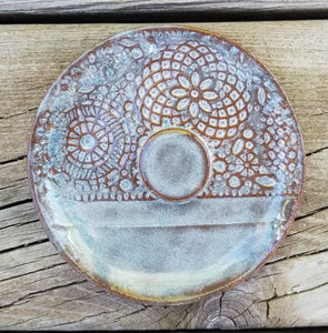 Geometric Lace Terra Cotta Stoneware Clay Soap Dish