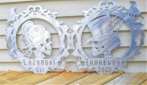 Bride and Groom Skeleton Gothic Plasma Cut Metal Wedding Sign