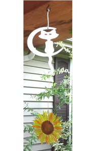 Plasma Cut Metal Garden Cat on Moon Plant Hanger