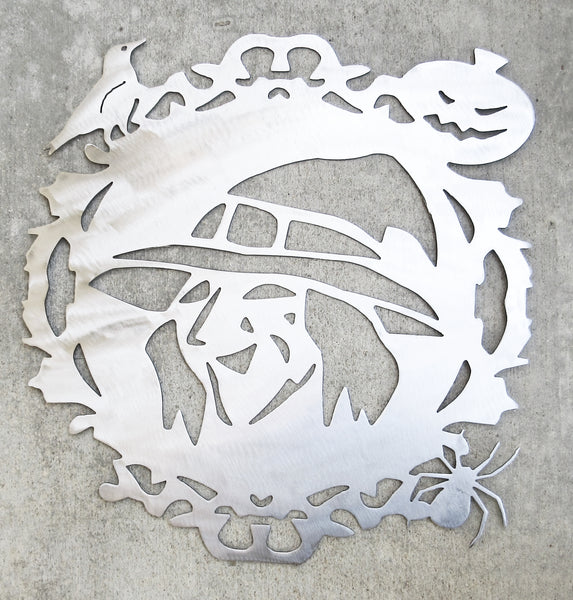 Halloween Friendly Witch Plasma Cut Wall or Door Hanging - Cat Fly Designs