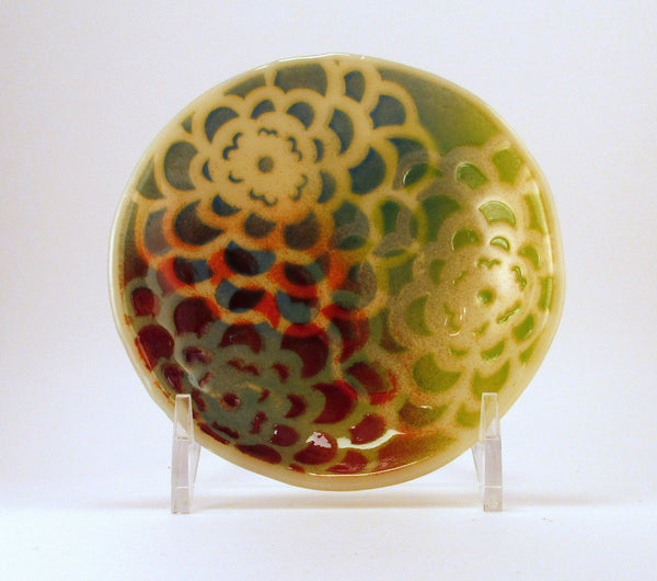 Fused Glass Zinnia Flower Pattern Ring Holder Trinket Dish - Cat Fly Designs