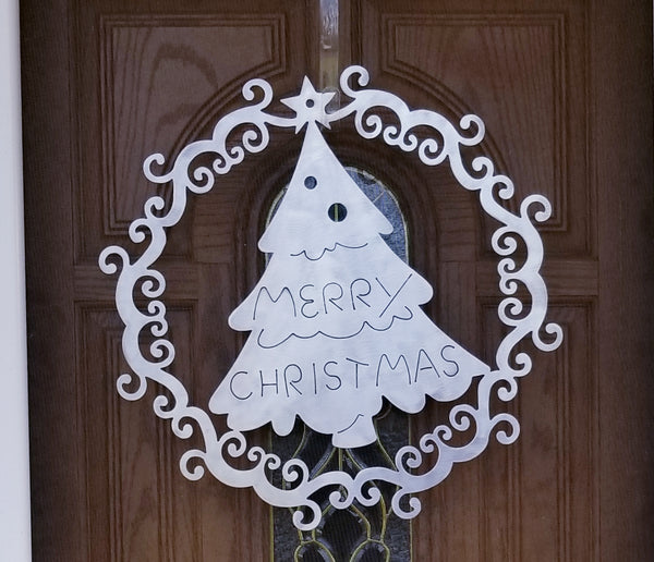 Merry Christmas Tree Plasma Cut Metal Door or Wall Wreath - Cat Fly Designs