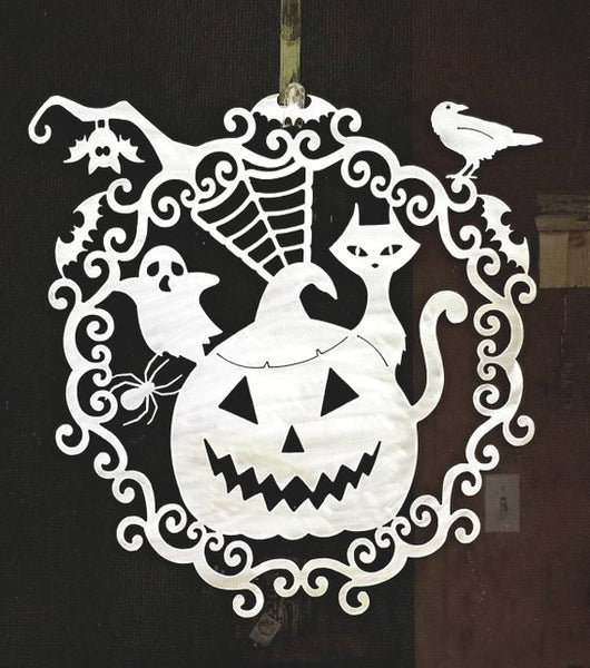 Plasma Cut Metal Halloween Pumpkin Wreath with Bat Ghost Cat Raven Web