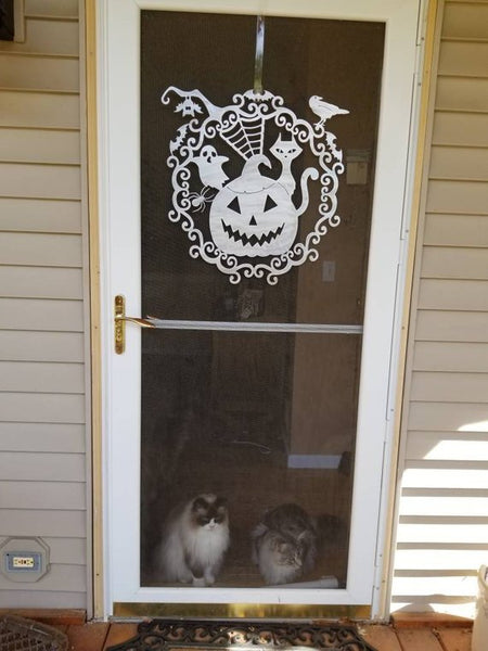 Halloween Pumpkin, Ghost, Spider, Cat, Bat and Raven Plasma Cut Metal Wall Plaque or Door Wreath - Cat Fly Designs