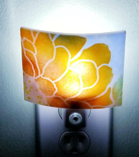 Fused Glass Red Orange and Purple Flower Against Blue Sky LED Dusk to Dawn Nightlight