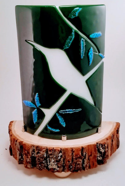 Fused Glass Dark Green with White Bird on Branch and Dichroic Leaves Desktop Nightlight