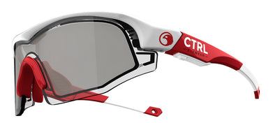 CTRL ONE Sports Eyewear White & Red / Smoke Lens