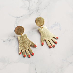 Red Nail Palm Earrings