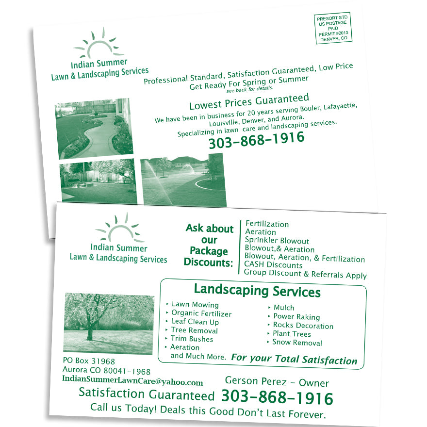55 X 85 One Color Postcard Printed Front And Back