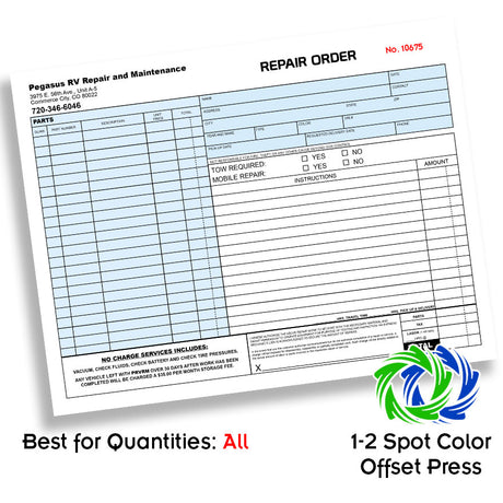 "8.5 x 11"" 2 Color 3pt Carbonless Forms Front Side"