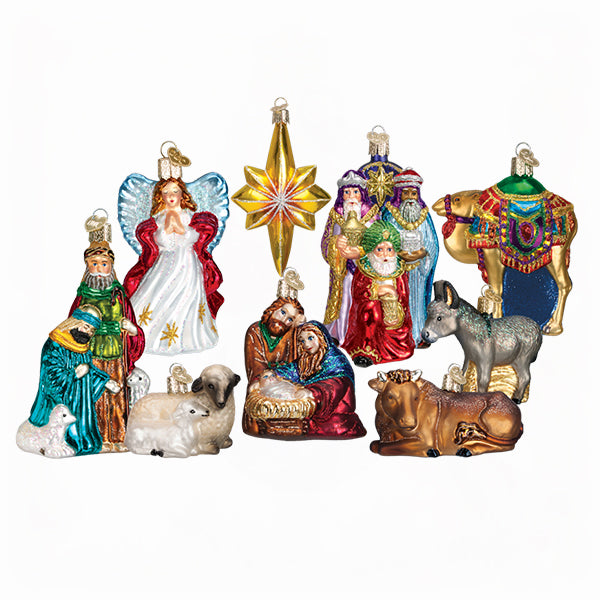 Holy Family With Angel Hair Glass Ornament: Nativity Glass Ornaments Collection