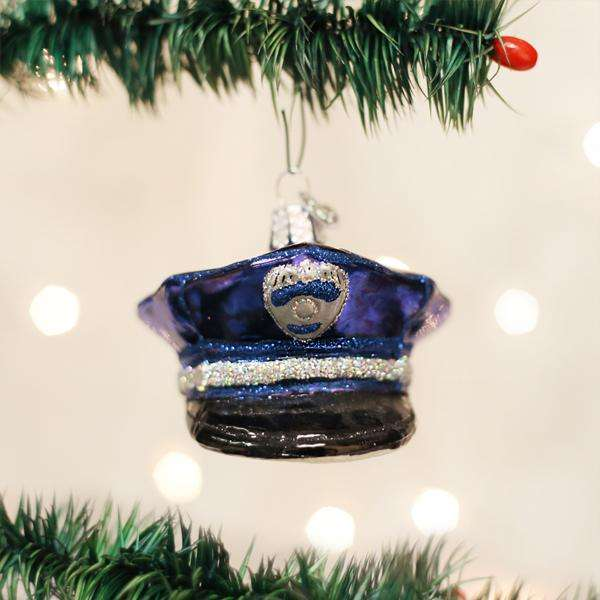police officers cap glass ornament 50
