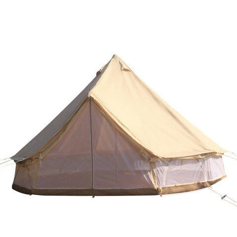 Dream House Luxury All Weather Waterproof Cotton Canvas Family Camping Safari Bell Tent with Mesh Side Wall