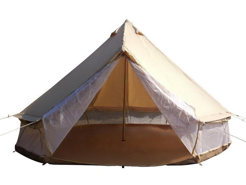 Cheap Used Cotton Canvas Family Camping Bell Tent with Mesh Side Wall Only Ship to US
