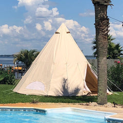 Used Waterproof Cotton Canvas Family Camping Indian Teepee Tent Only Ship to US