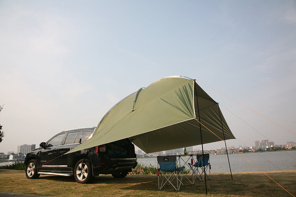 Waterproof Tear-Resistant Car Rooftop Awning Auto Canopy Portable Trailer Tent for SUV MPV Trailer Beach Camping Auto Traveling Tent Rich-home Car Awning Sun Shelter