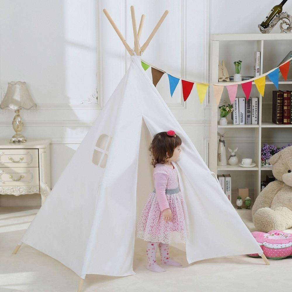 Dream House Indoor White Teepee Play Reading Canvas Tents