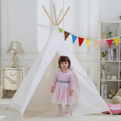 Dream House Indoor White Teepee Play Reading Canvas Tents for Kids