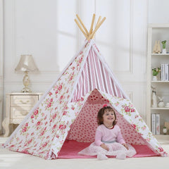 Dream House Fun Kids Indoor Cotton Canvas Rose Floral Teepee Tent
