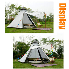 Portable Double Layers Waterproof Breathable Family Camping Indian Teepee Tent for 4 Person