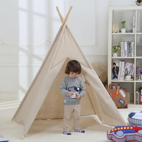 Dream House Breathable Nature Flax Boys and Girls Beige Playhut Tent ... & Kids Play Tent | DreamHouse Tent