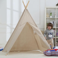 Dream House Breathable Nature Flax Boys and Girls Beige Playhut Tent