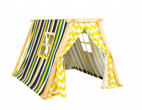Dream House Indoor Luxury Cotton Canvas Colorful Stripes and Chevron Play House Tent for Toddlers