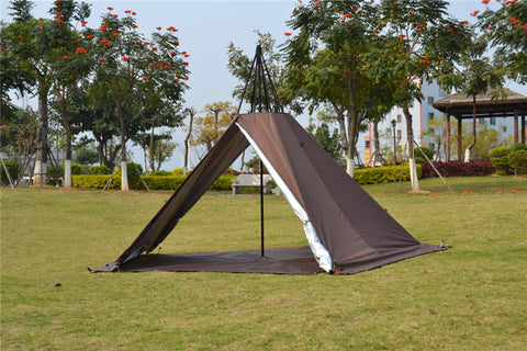 Portable Waterproof Double Camping Pentagonal Pyramid Tent with Stove Hole