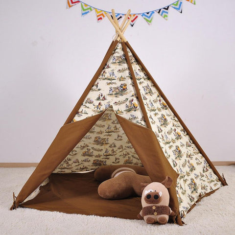 Dream House Indoor Cotton Canvas Cowboy Indian Teepee Tent for Boys Luxury Kids Playhouse