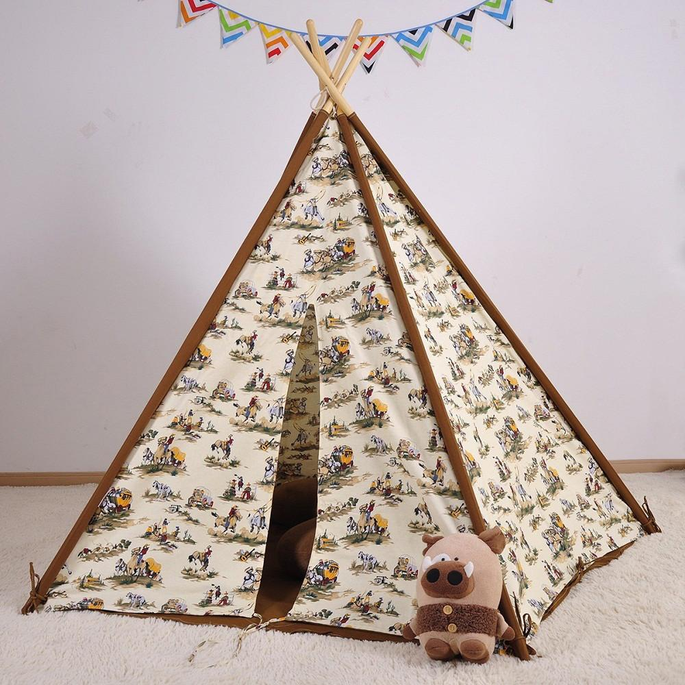 Dream House Indoor Cotton Canvas Cowboy Indian Teepee Tent for Boys Luxury Kids Playhouse & Dream House Indoor Cotton Canvas Cowboy Indian Teepee Tent for ...