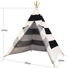Dream House Horizontal Black and White Stripes Indoor Children Hideaway Game Wigwam Tent