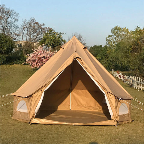 Diameter 3M Waterproof Ripstop Plaid Cloth Tripod Frame Camping Bell Tent Central-Pole-Free Easily Contain a Queen Size Air Mattress
