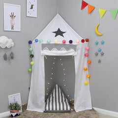 Dream House Indoor Cotton Canvas Reading Corner Yurt Tent for Toddlers