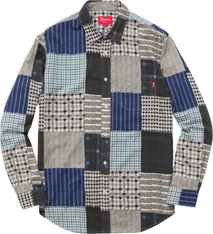 Supreme Printed Patchwork Flannel Shirt Navy