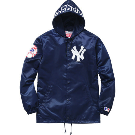 Supreme / New York Yankees 47 Brand Satin Hooded Coaches Jacket Navy