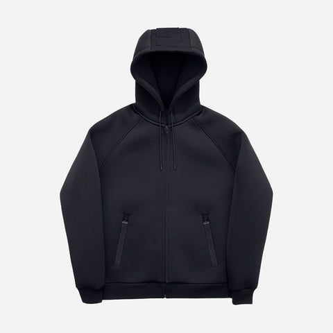 Alexander Wang H&M Black Neoprene Scuba Hooded Zip-Up Sweatshirt