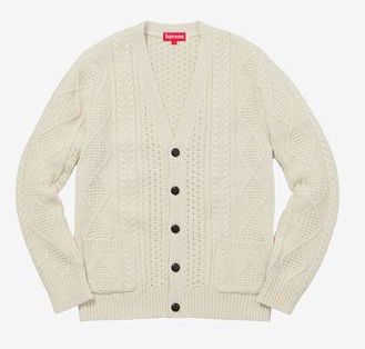 Supreme Cable Knit Cardigan Natural