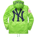 Supreme / New York Yankees 47 Brand Satin Hooded Coaches Jacket Green