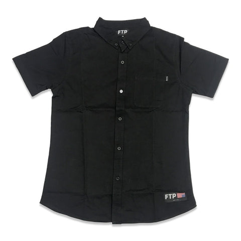FTP Button Up Short Sleeve Black Shirt