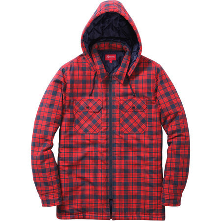 Supreme Quilted Zip Flannel Shirt Navy Red