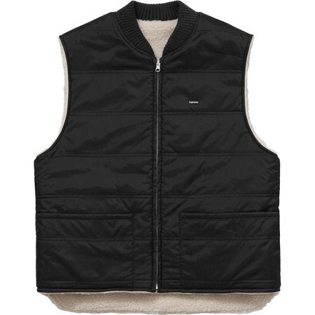 Supreme Sherpa Fleece Reversible Work Vest  Black