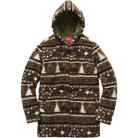 Supreme Sherpa Fleece Toggle Jacket Brown