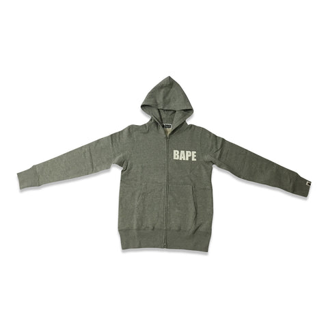 Bape- A Bathing Ape Busy Works Zip Up Hoodie Gray