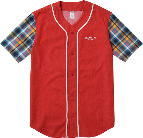 Supreme Denim Flannel Baseball Shirt Red