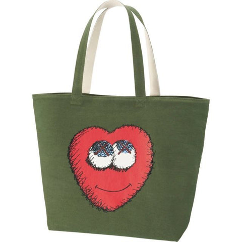 Kaws Tote Green Heart Small