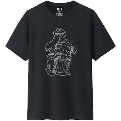 KAWS x Sesame Street Cookie Monster Elmo Tee Black